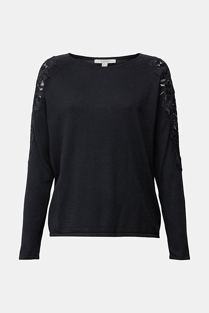 Recycled: Jumper with lace, BLACK, detail image number 7