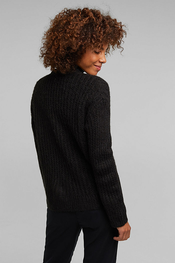 Alpaca blend: cardigan with a knit pattern, BLACK, detail image number 2