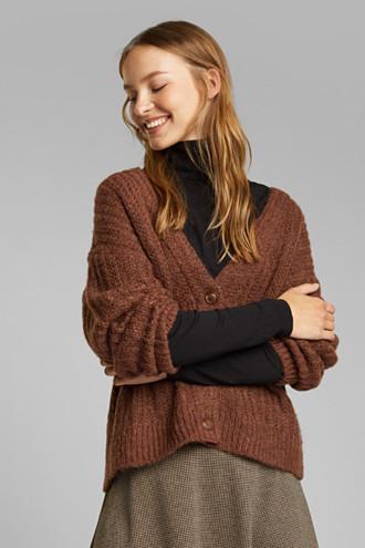 Alpaca blend: cardigan with a knit pattern