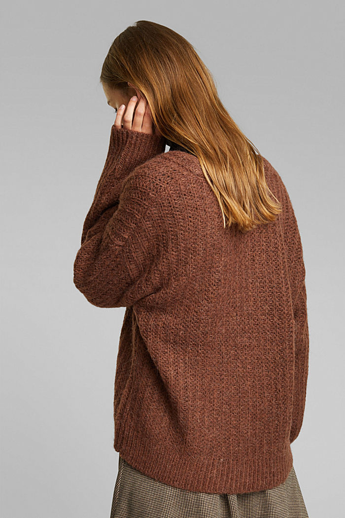 Alpaca blend: cardigan with a knit pattern, BROWN, detail image number 3