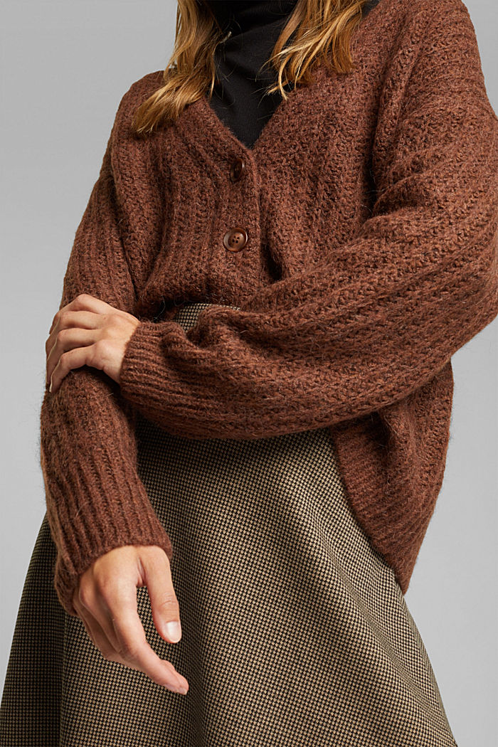 Alpaca blend: cardigan with a knit pattern, BROWN, detail image number 2
