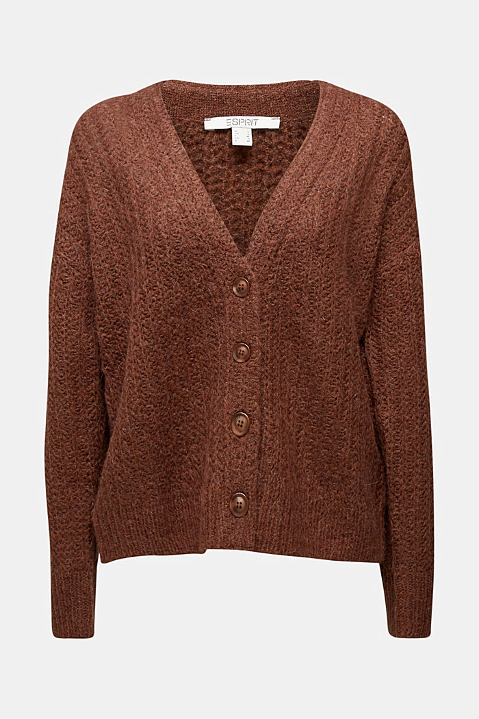 Alpaca blend: cardigan with a knit pattern, BROWN, detail image number 5