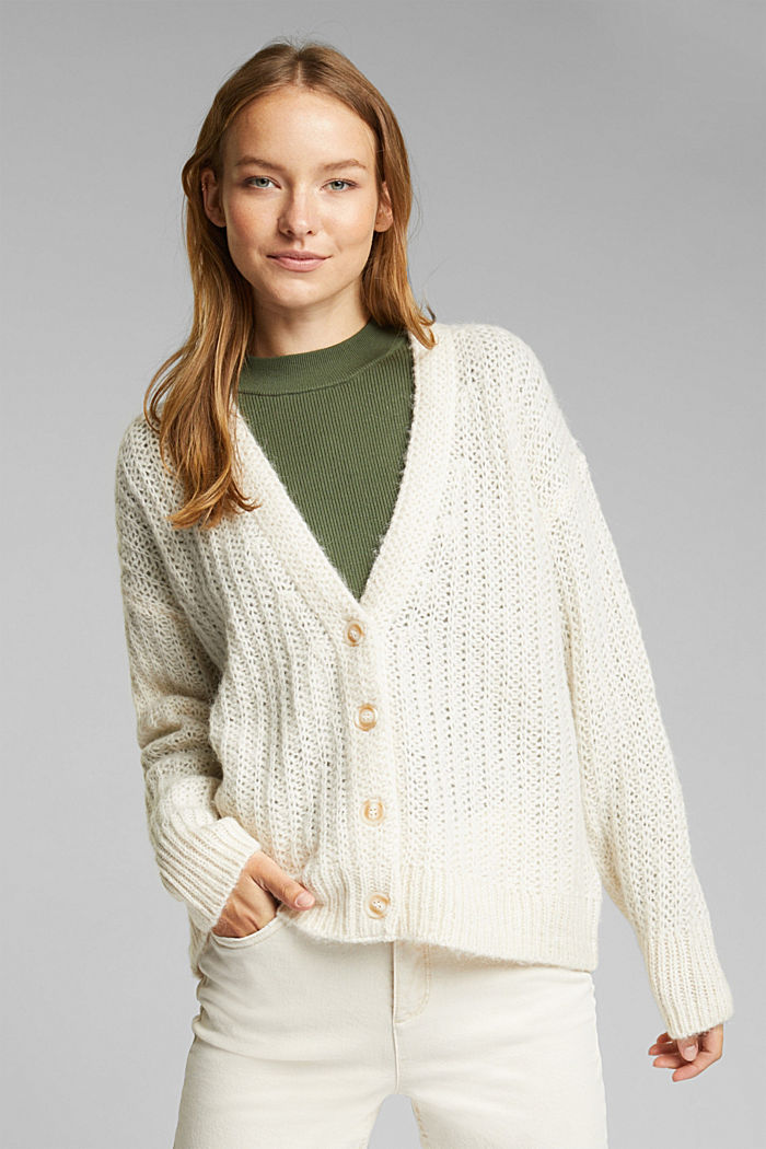 Alpaca blend: cardigan with a knit pattern, SAND, detail image number 0
