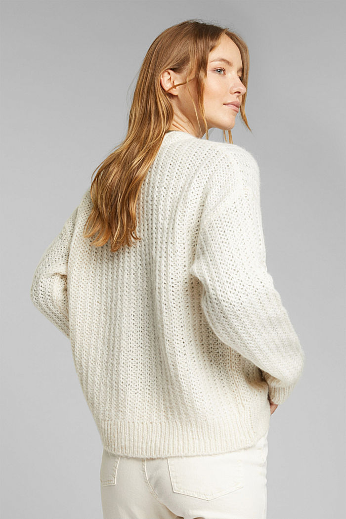 Alpaca blend: cardigan with a knit pattern, SAND, detail image number 3