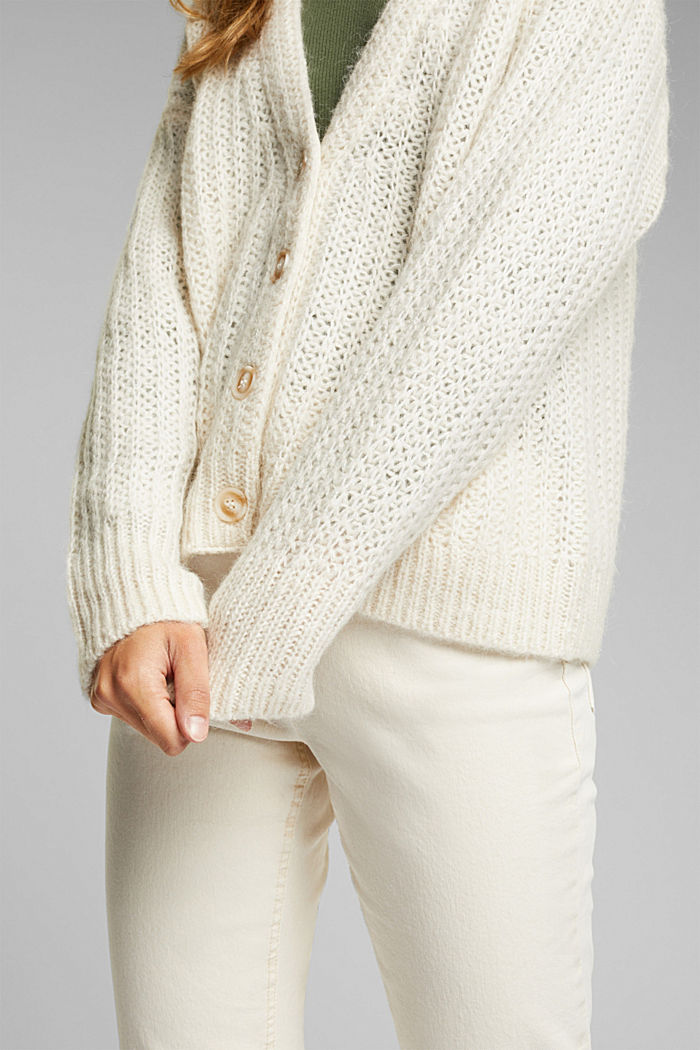 Alpaca blend: cardigan with a knit pattern, SAND, detail image number 2