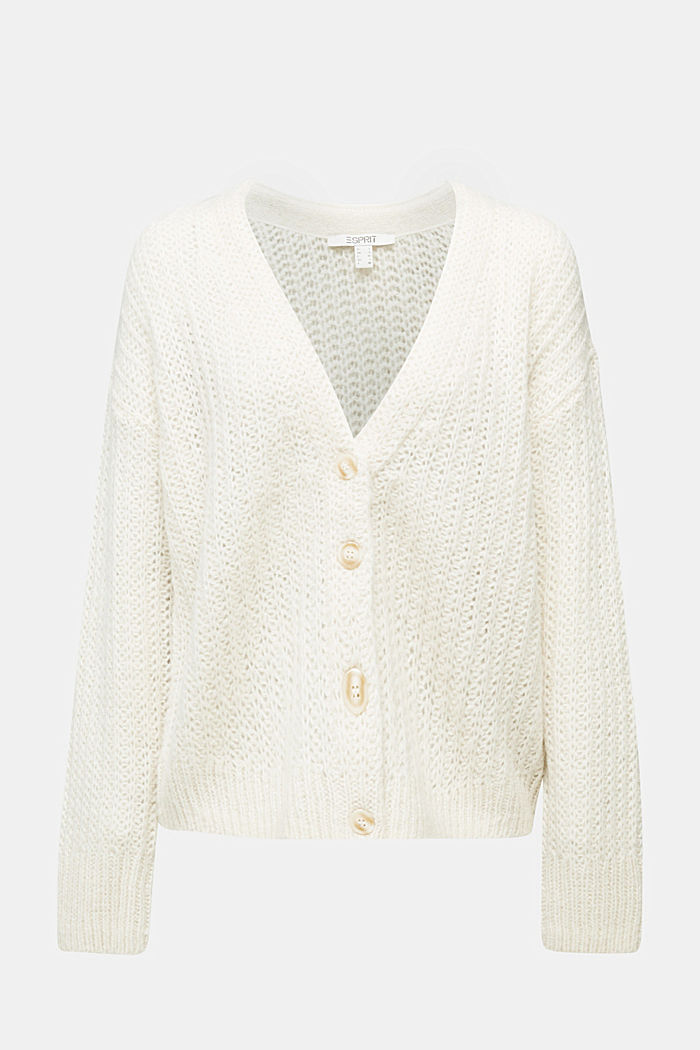 Alpaca blend: cardigan with a knit pattern, SAND, detail image number 5