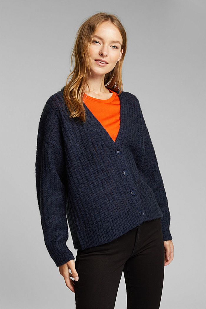 Alpaca blend: cardigan with a knit pattern, NAVY, detail image number 0