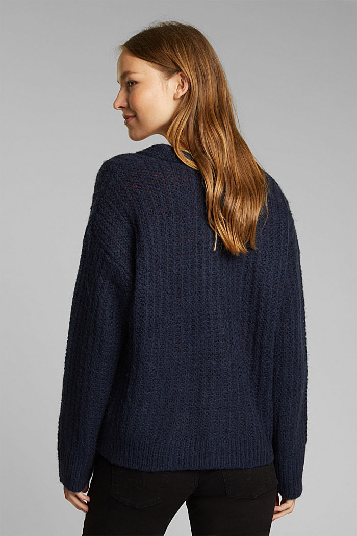 Alpaca blend: cardigan with a knit pattern, NAVY, detail image number 3