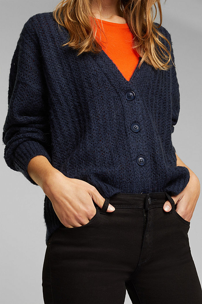 Alpaca blend: cardigan with a knit pattern, NAVY, detail image number 2