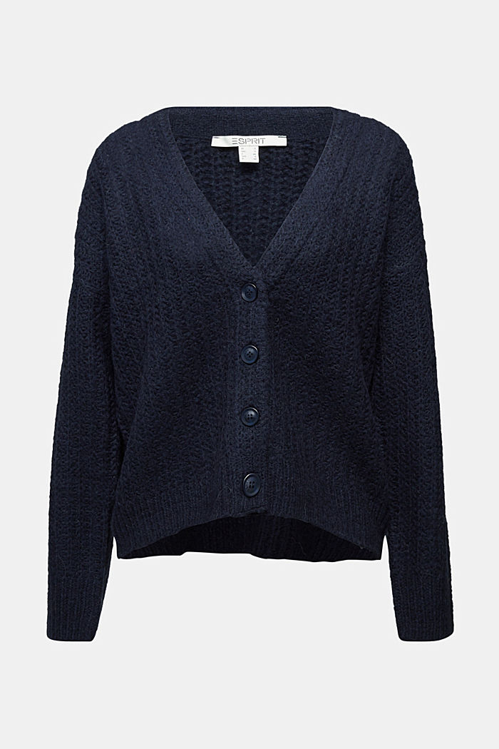 Alpaca blend: cardigan with a knit pattern, NAVY, detail image number 5