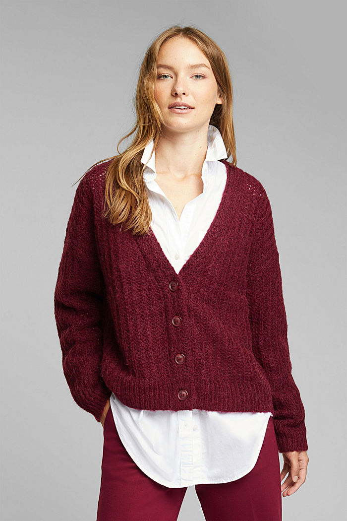 Alpaca blend: cardigan with a knit pattern, BORDEAUX RED, detail image number 0