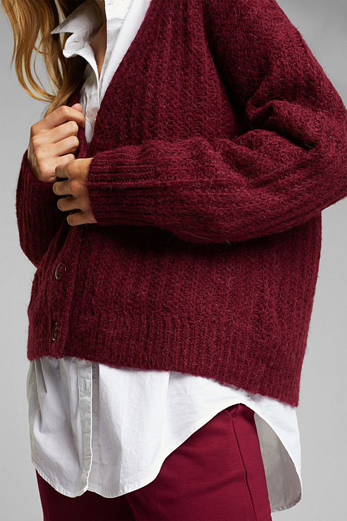 Alpaca blend: cardigan with a knit pattern, BORDEAUX RED, detail image number 2