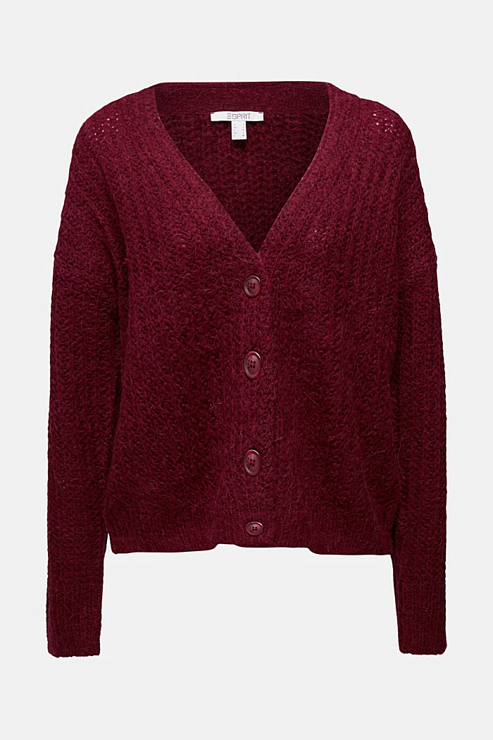 Alpaca blend: cardigan with a knit pattern, BORDEAUX RED, detail image number 5