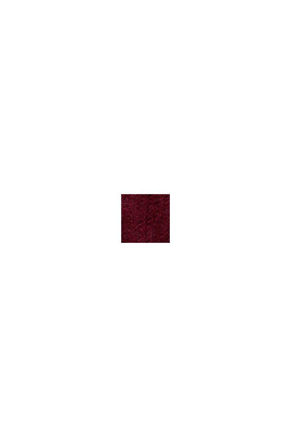 Z alpaką: kardigan z dzianinowym wzorem, BORDEAUX RED, swatch