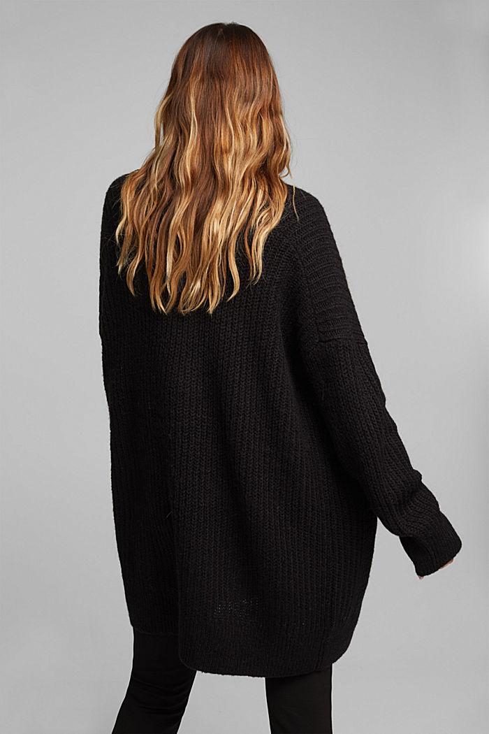 CURVY alpaca blend: long wool cardigan, BLACK, detail image number 3