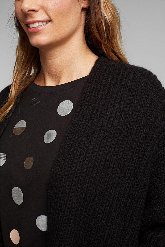 CURVY alpaca blend: long wool cardigan, BLACK, detail image number 2
