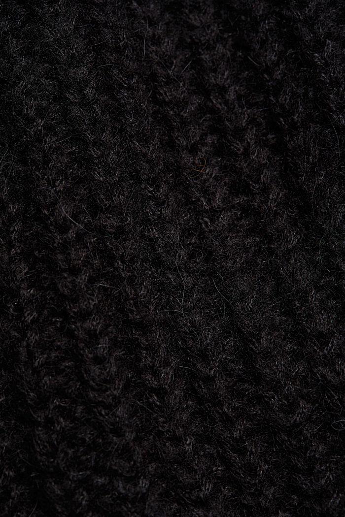 CURVY alpaca blend: long wool cardigan, BLACK, detail image number 4