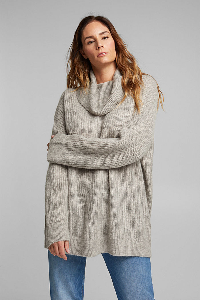 CURVY alpaca/wool blend: knit jumper, MEDIUM GREY, detail image number 0