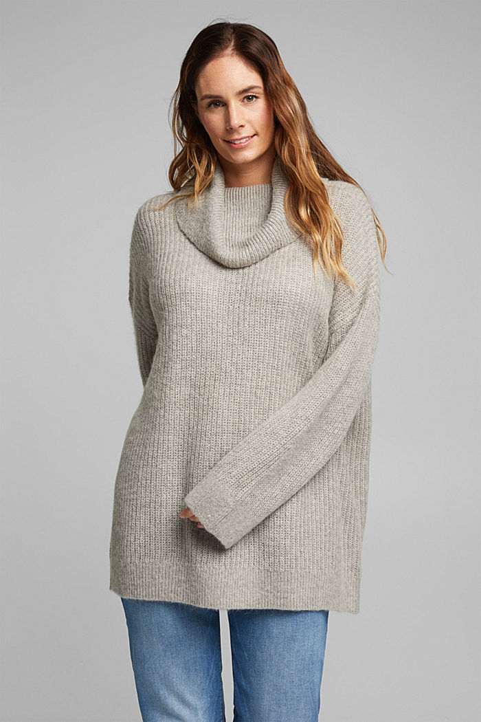 CURVY alpaca/wool blend: knit jumper, MEDIUM GREY, detail image number 6
