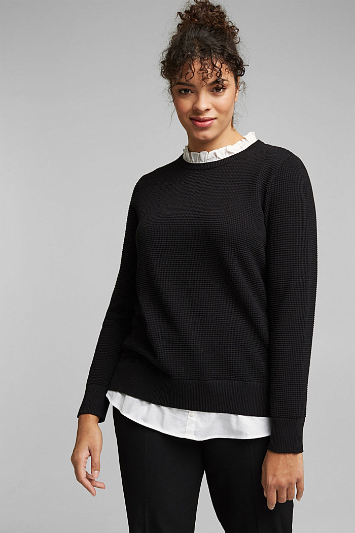 CURVY jumper with frilled blouse insert, BLACK, detail image number 0