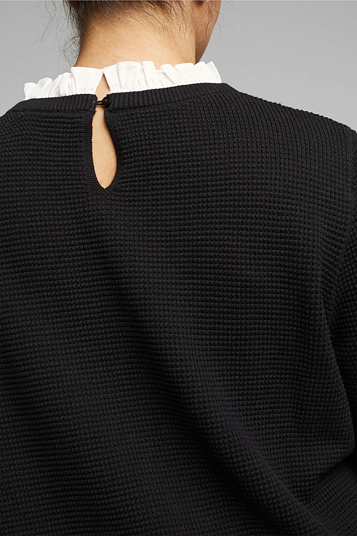CURVY jumper with frilled blouse insert, BLACK, detail image number 5