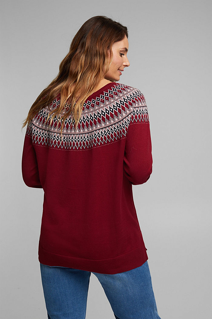 CURVY jumper in 100% organic cotton, BORDEAUX RED, detail image number 3