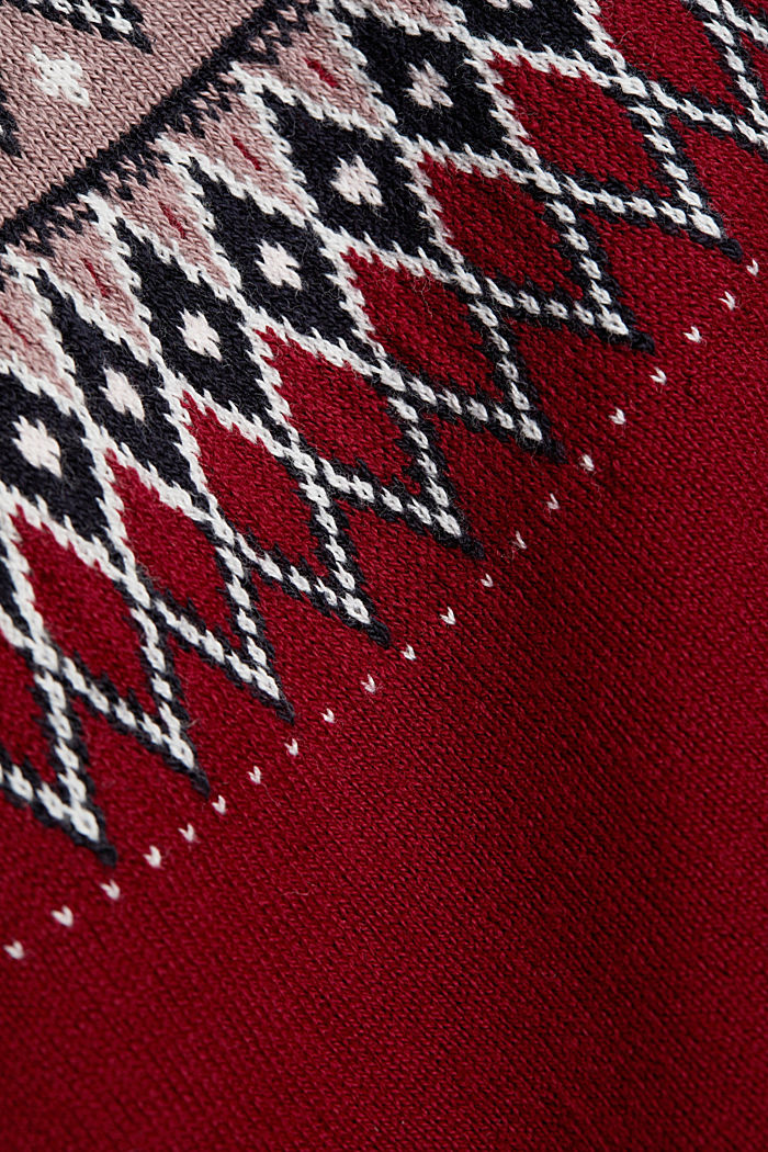 CURVY jumper in 100% organic cotton, BORDEAUX RED, detail image number 4