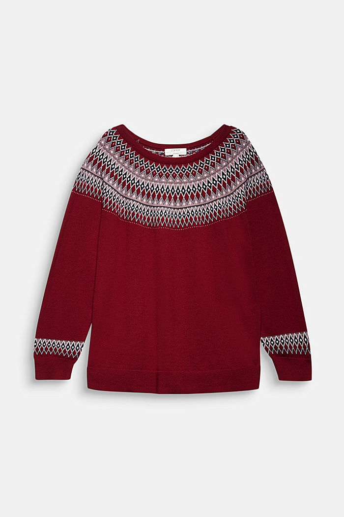 CURVY jumper in 100% organic cotton, BORDEAUX RED, detail image number 6