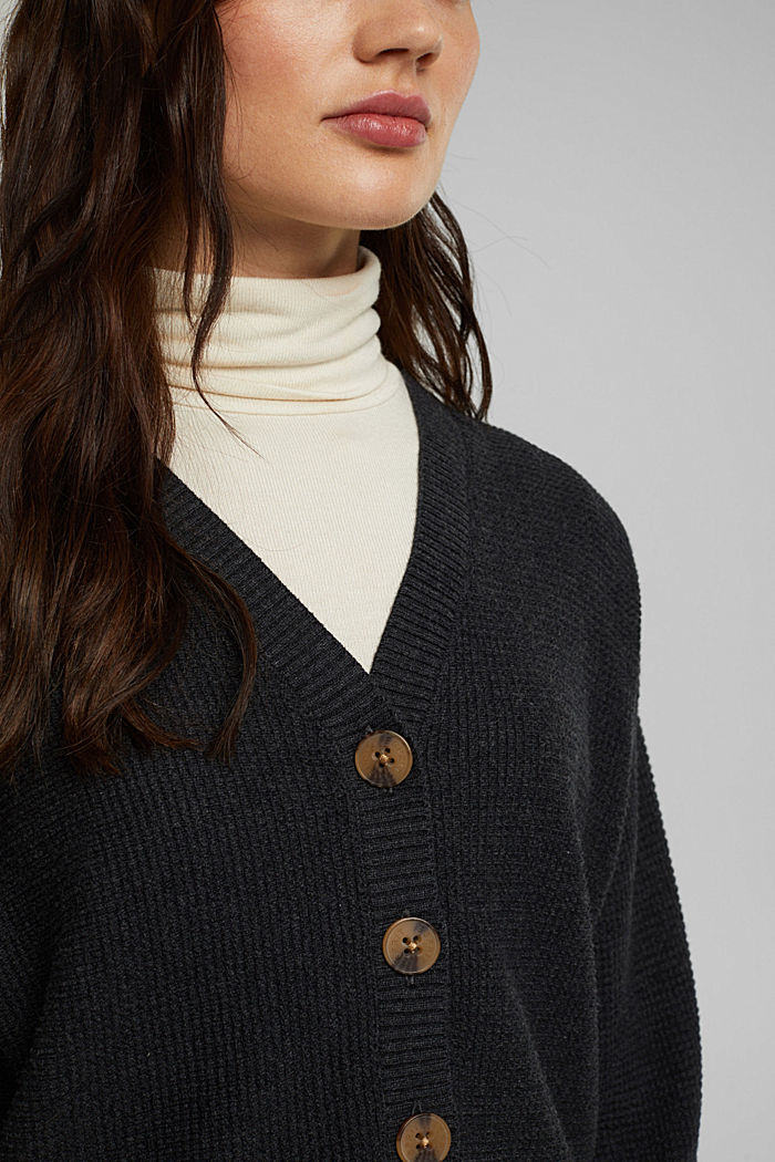 Cashmere blend: cardigan made of organic cotton, ANTHRACITE, detail image number 2