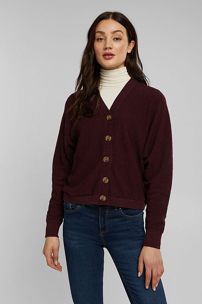 Fashion Cardigan, BORDEAUX RED, detail image number 0
