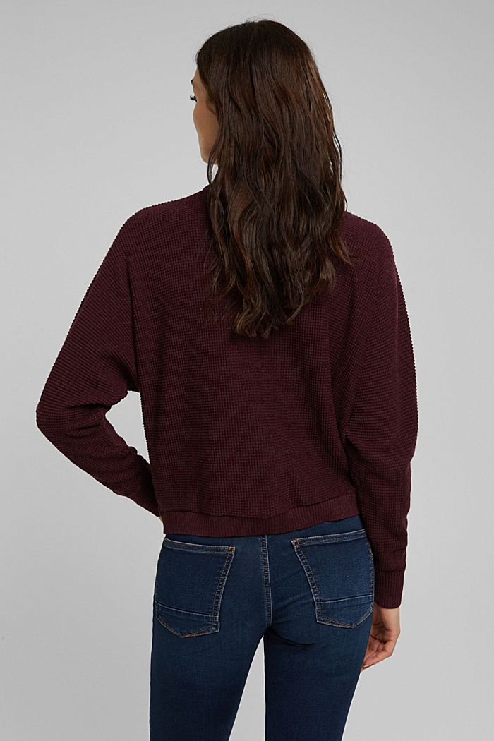 Cashmere blend: cardigan made of organic cotton, BORDEAUX RED, detail image number 3