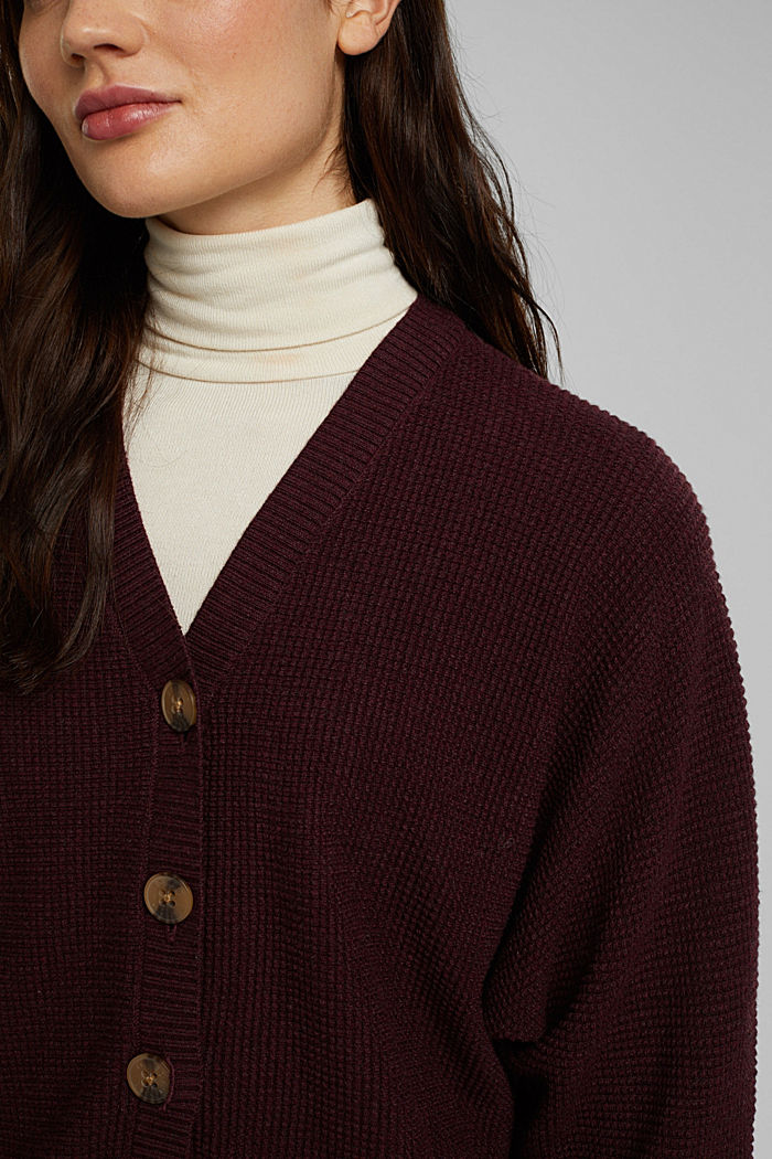 Cashmere blend: cardigan made of organic cotton, BORDEAUX RED, detail image number 2