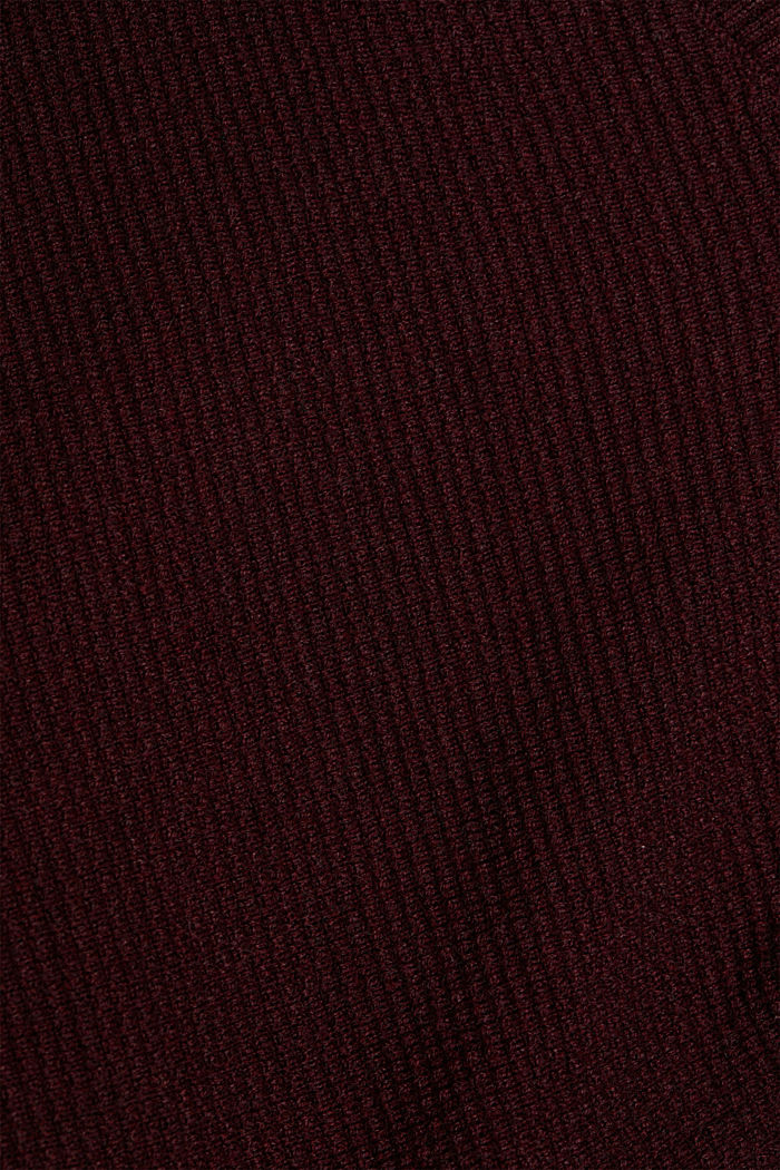 Cashmere blend: cardigan made of organic cotton, BORDEAUX RED, detail image number 4