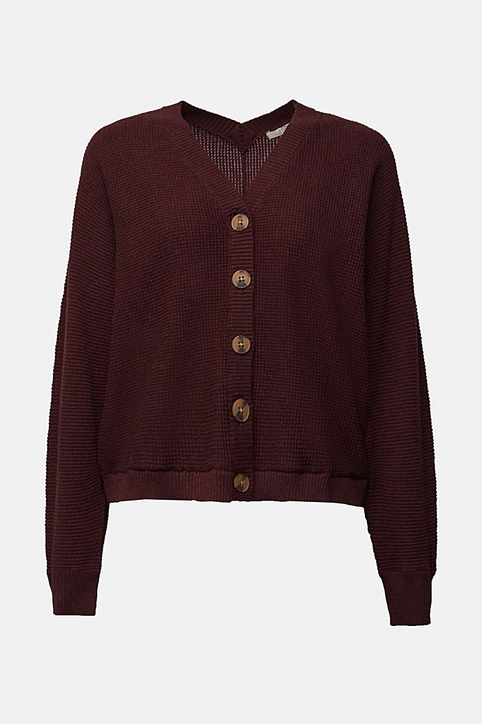 Cashmere blend: cardigan made of organic cotton, BORDEAUX RED, detail image number 6