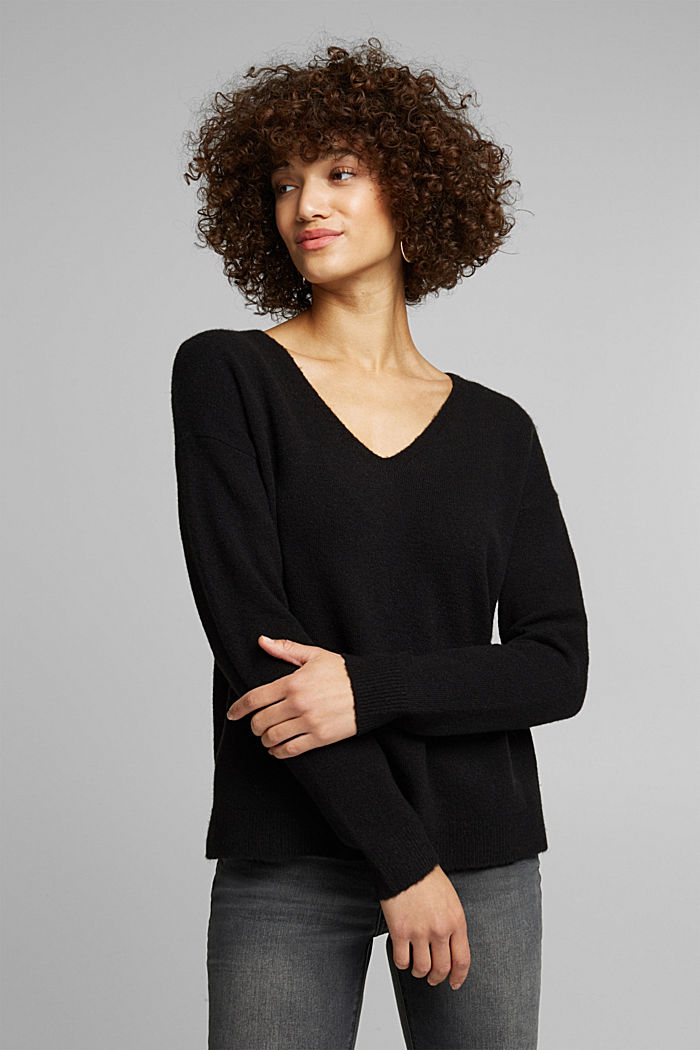 Wool blend: Jumper with a V-neckline, BLACK, detail image number 0