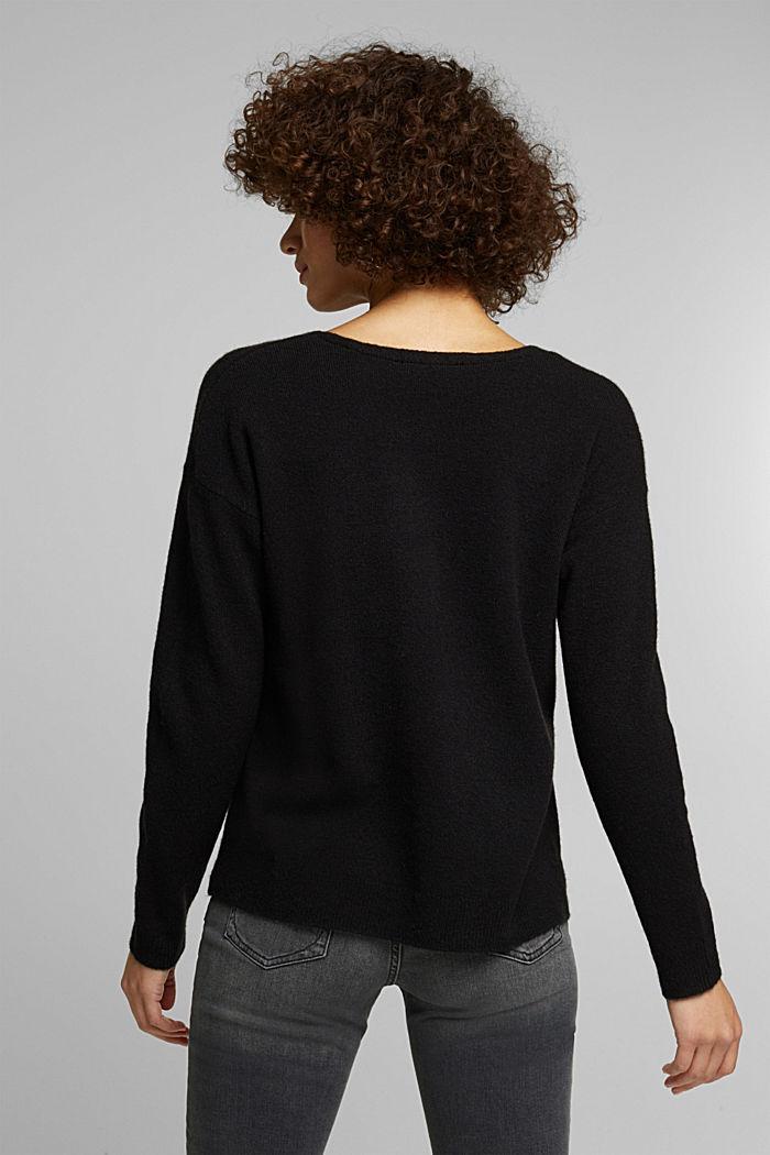 Wool blend: Jumper with a V-neckline, BLACK, detail image number 3