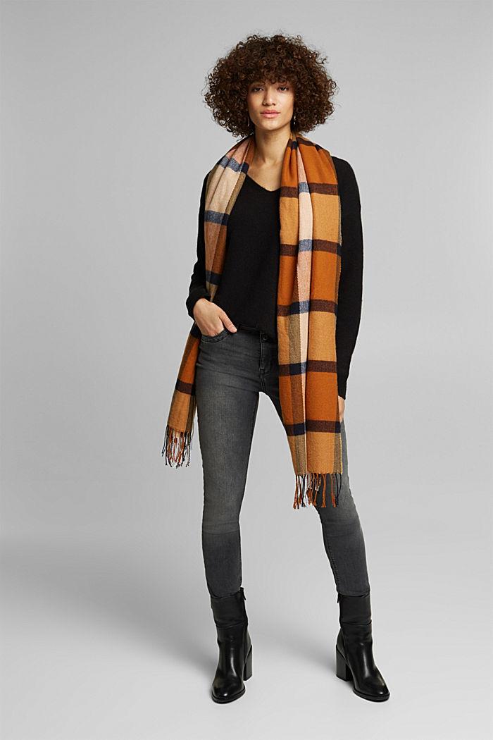 Wool blend: Jumper with a V-neckline, BLACK, detail image number 1