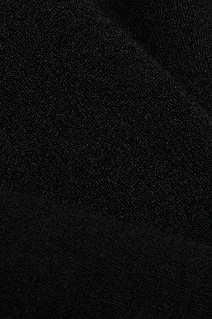 Wool blend: Jumper with a V-neckline, BLACK, detail image number 4
