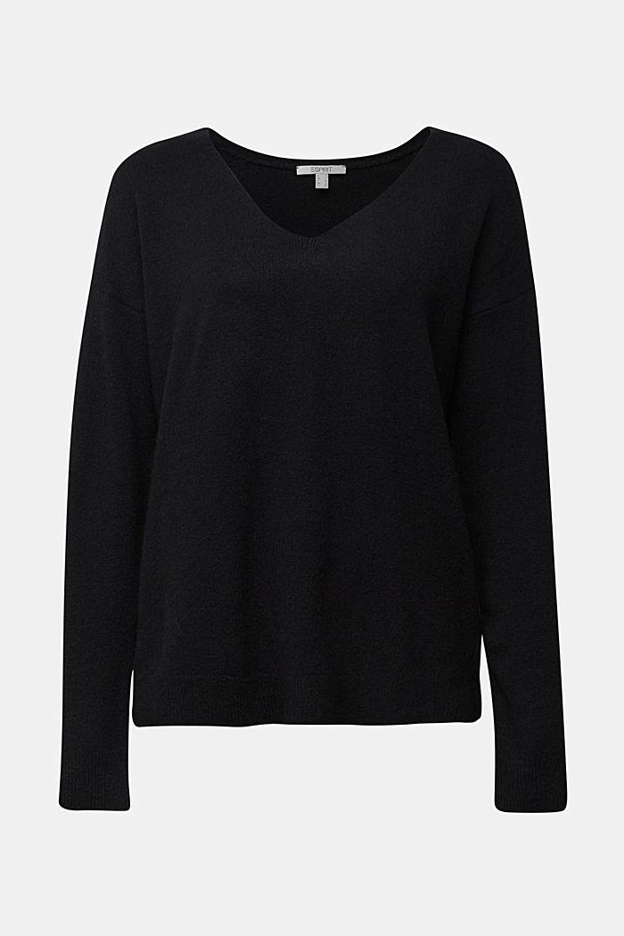 Wool blend: Jumper with a V-neckline, BLACK, detail image number 5