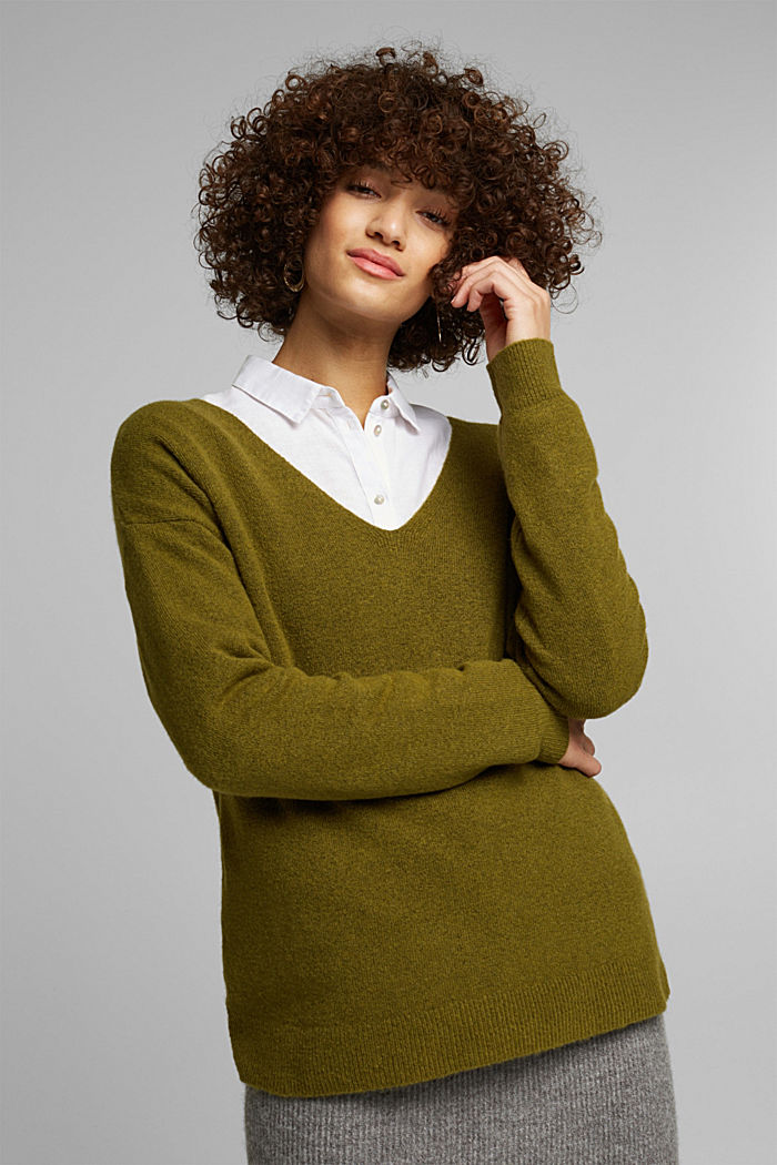 Wool blend: Jumper with a V-neckline, OLIVE, detail image number 0