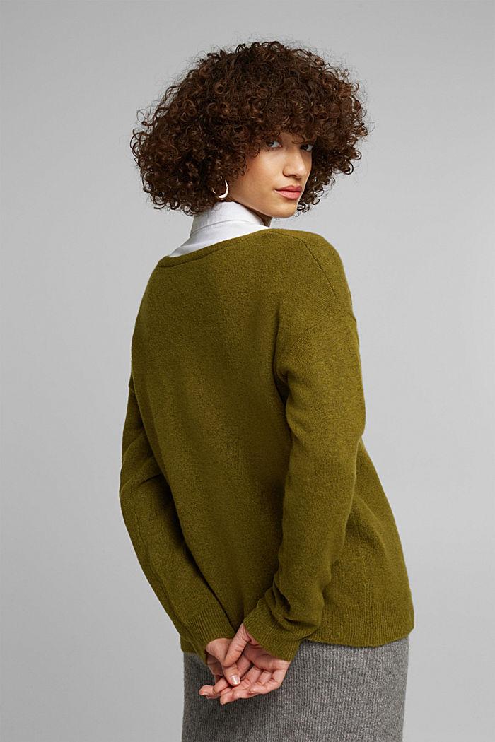 Wool blend: Jumper with a V-neckline, OLIVE, detail image number 3
