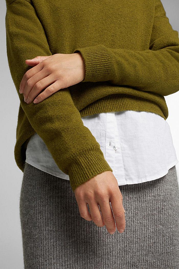 Wool blend: Jumper with a V-neckline, OLIVE, detail image number 2
