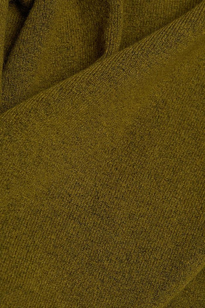 Wool blend: Jumper with a V-neckline, OLIVE, detail image number 4
