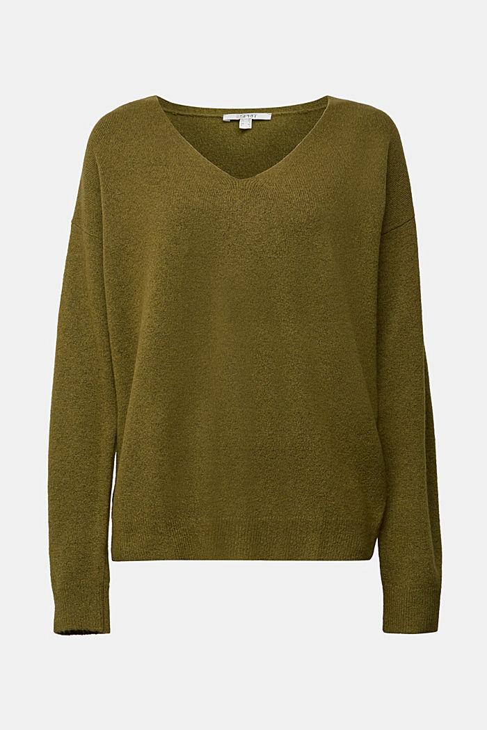 Wool blend: Jumper with a V-neckline, OLIVE, detail image number 5