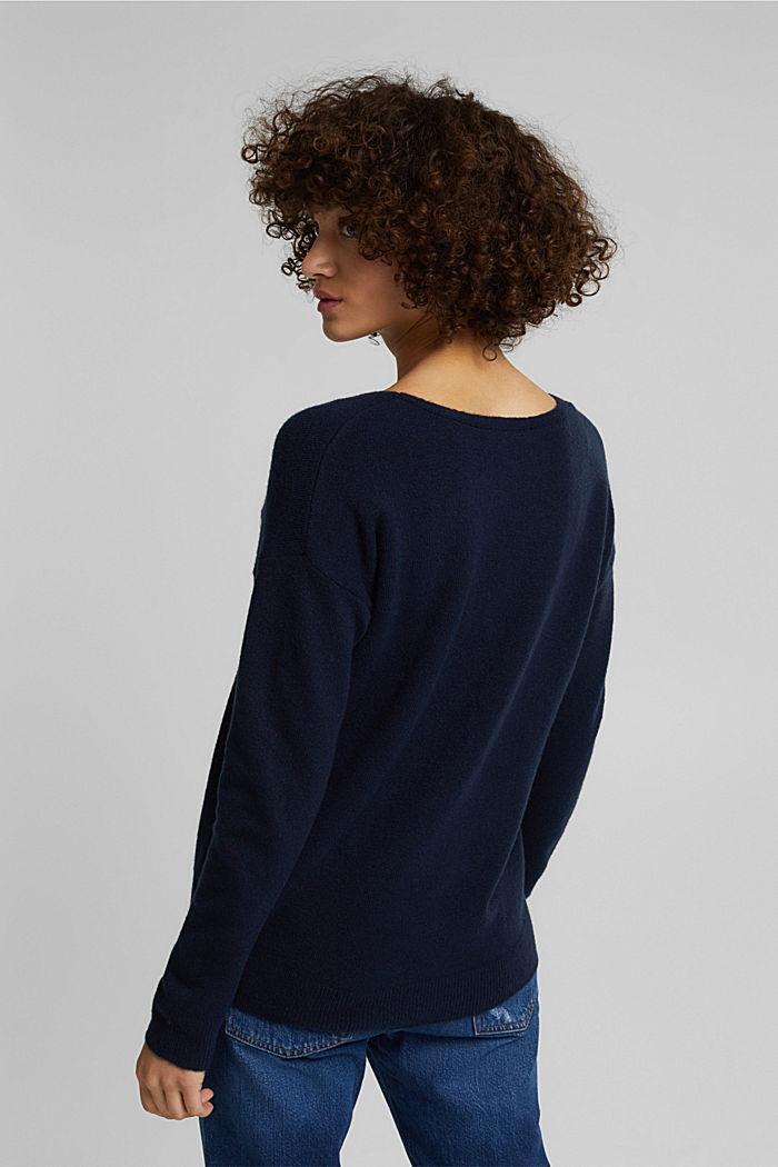 Wool blend: Jumper with a V-neckline, NAVY, detail image number 3