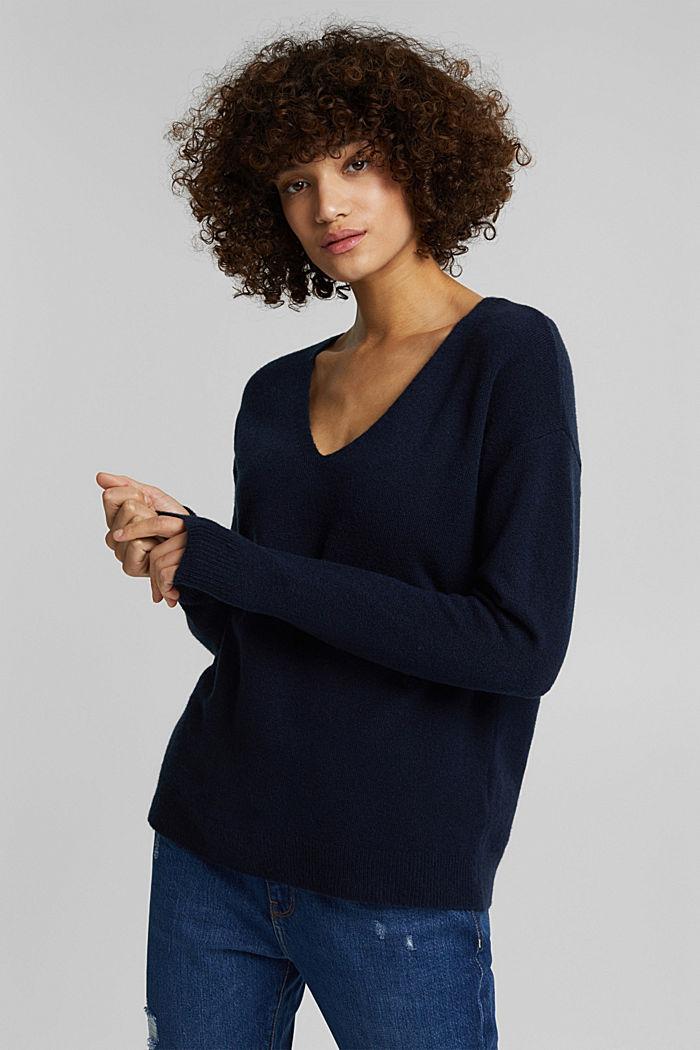 Wool blend: Jumper with a V-neckline, NAVY, detail image number 5