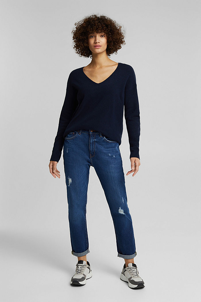 Wool blend: Jumper with a V-neckline, NAVY, detail image number 7