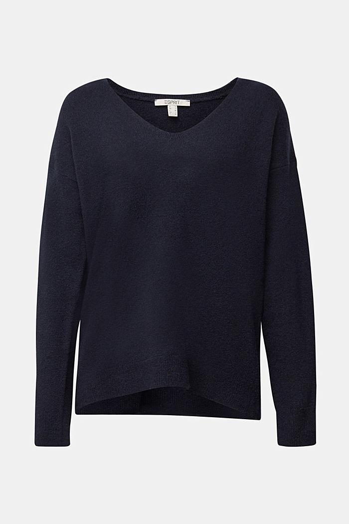 Wool blend: Jumper with a V-neckline, NAVY, detail image number 8