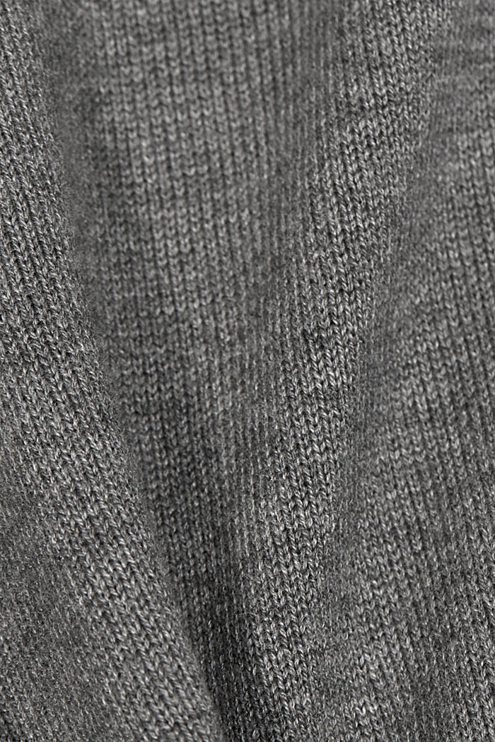 Cardigan with organic cotton, GUNMETAL, detail image number 4