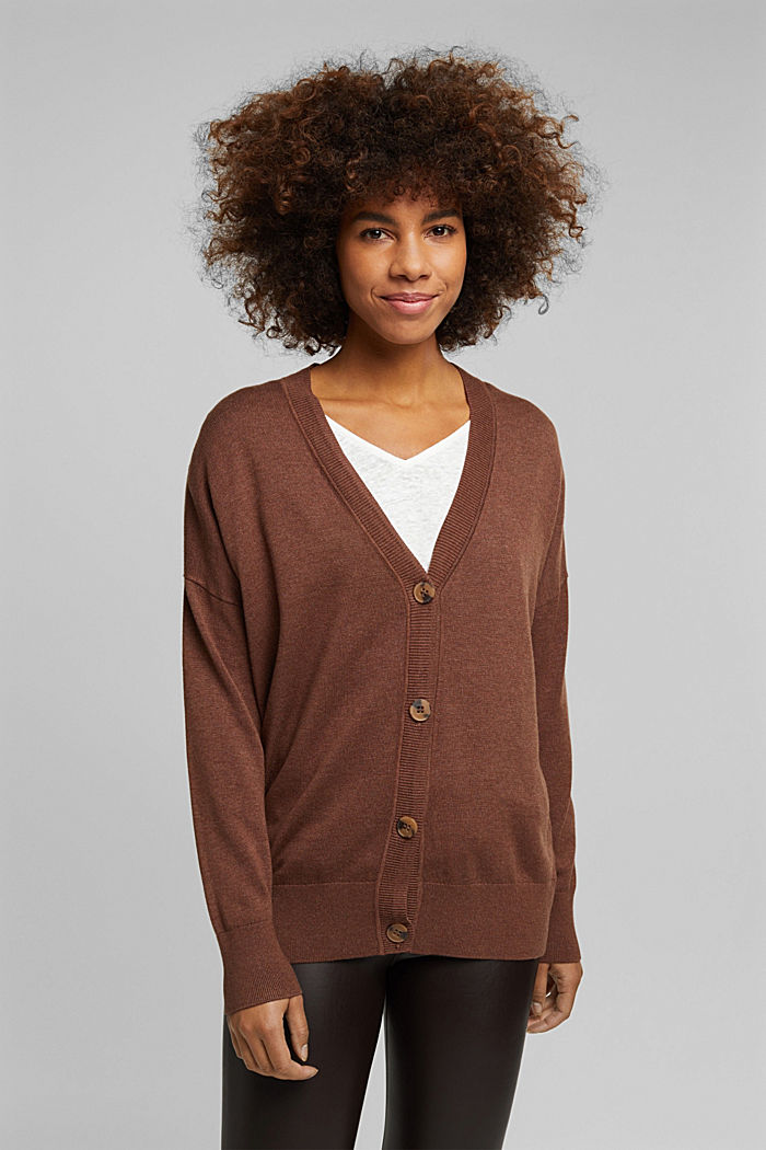 Cardigan with organic cotton, BROWN, detail image number 0